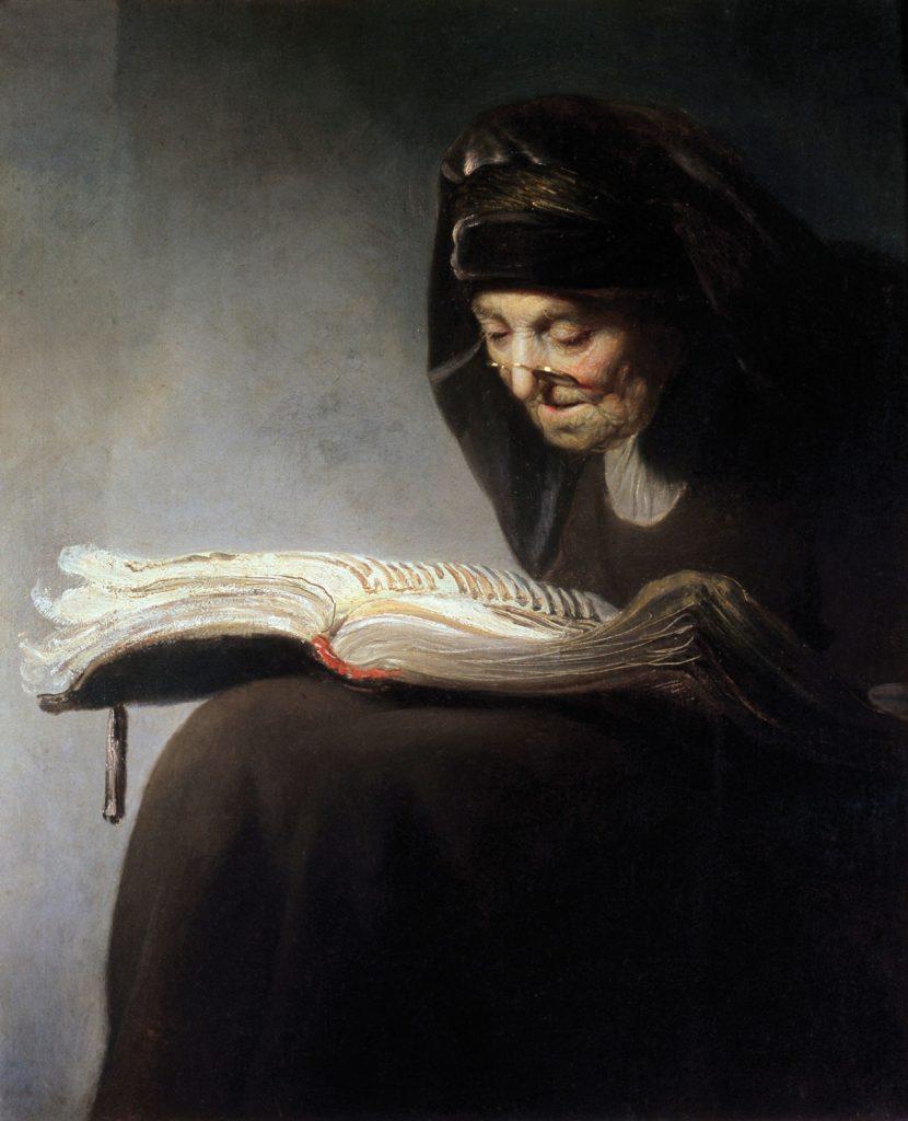 """Rembrandt, c. 1629, """"Rembrandts mor läser"""""""